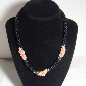Twisted Coral, Jade, Black Onyx necklace